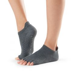 ToeSox Low Rise Half Toe Charcoal Grey